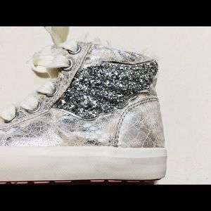 Next Kids Shoes - Next Kids Silver Angel Wing Faux Fur High-Tops
